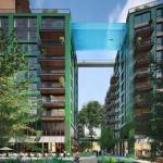 La piscina se ubicará en la nueva urbanización Embassy gardens legacy buildings en Londres permitirá a sus inquilinos cruzar la calle nadando a la altura de un décimo piso.
